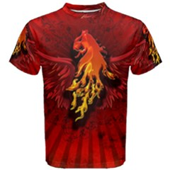 Lion With Flame And Wings In Yellow And Red Men s Cotton Tees