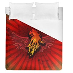 Lion With Flame And Wings In Yellow And Red Duvet Cover Single Side (full/queen Size)