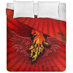 Lion With Flame And Wings In Yellow And Red Duvet Cover (double Size) by FantasyWorld7