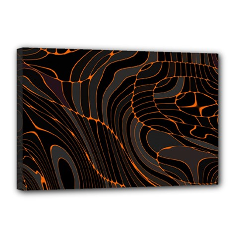 Retro Abstract Orange Black Canvas 18  X 12  by ImpressiveMoments