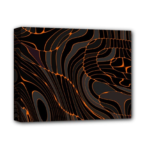 Retro Abstract Orange Black Deluxe Canvas 14  X 11  by ImpressiveMoments