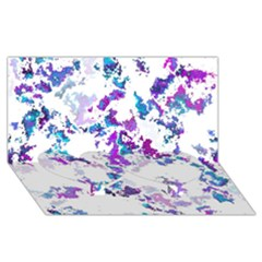 Splatter White Lilac Twin Heart Bottom 3d Greeting Card (8x4)  by MoreColorsinLife