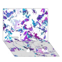 Splatter White Lilac Love Bottom 3d Greeting Card (7x5)