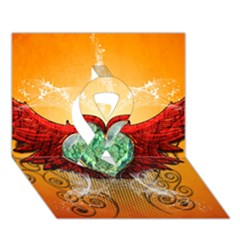 Beautiful Heart Made Of Diamond With Wings And Floral Elements Ribbon 3d Greeting Card (7x5)