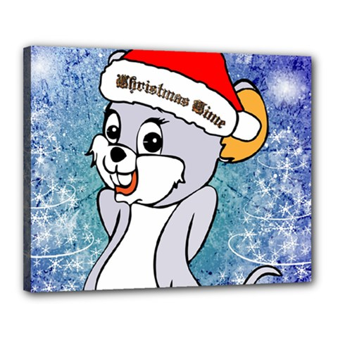 Funny Cute Christmas Mouse With Christmas Tree And Snowflakses Canvas 20  X 16  by FantasyWorld7