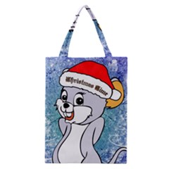 Funny Cute Christmas Mouse With Christmas Tree And Snowflakses Classic Tote Bags by FantasyWorld7