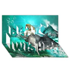 Beautiful Mermaid With  Dolphin With Bubbles And Water Splash Best Wish 3d Greeting Card (8x4)