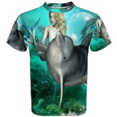 Beautiful Mermaid With  Dolphin With Bubbles And Water Splash Men s Cotton Tees