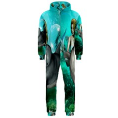 Beautiful Mermaid With  Dolphin With Bubbles And Water Splash Hooded Jumpsuit (men)  by FantasyWorld7