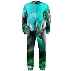 Beautiful Mermaid With  Dolphin With Bubbles And Water Splash Onepiece Jumpsuit (men)  by FantasyWorld7
