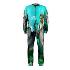 Beautiful Mermaid With  Dolphin With Bubbles And Water Splash Onepiece Jumpsuit (kids) by FantasyWorld7