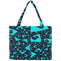 Teal On Black Funky Fractal Tiny Tote Bags by KirstenStar