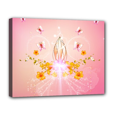Wonderful Flowers With Butterflies And Diamond In Soft Pink Colors Canvas 14  X 11  by FantasyWorld7