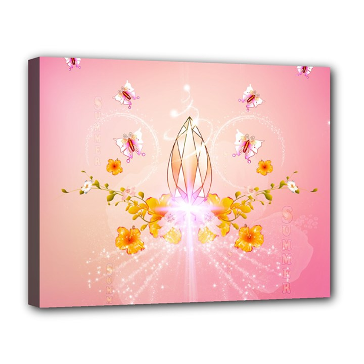 Wonderful Flowers With Butterflies And Diamond In Soft Pink Colors Canvas 14  x 11