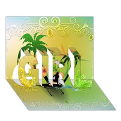 Surfing, Surfboarder With Palm And Flowers And Decorative Floral Elements Girl 3d Greeting Card (7x5)  by FantasyWorld7