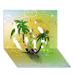 Surfing, Surfboarder With Palm And Flowers And Decorative Floral Elements Love 3d Greeting Card (7x5)  by FantasyWorld7