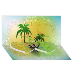 Surfing, Surfboarder With Palm And Flowers And Decorative Floral Elements Twin Heart Bottom 3d Greeting Card (8x4)  by FantasyWorld7