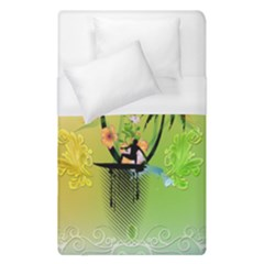 Surfing, Surfboarder With Palm And Flowers And Decorative Floral Elements Duvet Cover Single Side (single Size) by FantasyWorld7