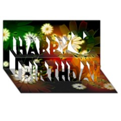 Awesome Flowers In Glowing Lights Happy Birthday 3d Greeting Card (8x4)  by FantasyWorld7