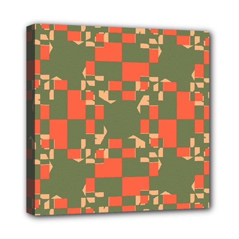 Green Orange Shapes Mini Canvas 8  X 8  (stretched) by LalyLauraFLM