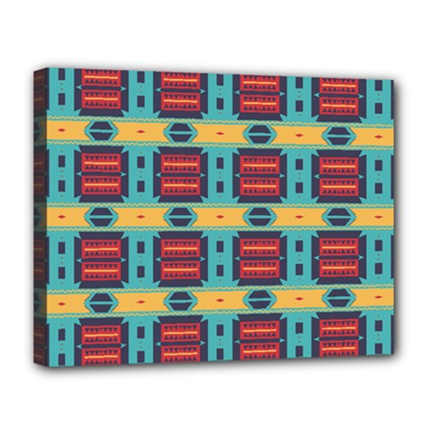 Blue Red And Yellow Shapes Pattern Canvas 14  X 11  (stretched) by LalyLauraFLM