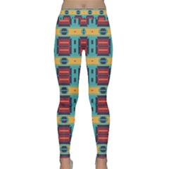 Blue Red And Yellow Shapes Pattern Yoga Leggings