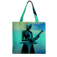 Sad Guitar Zipper Grocery Tote Bags by icarusismartdesigns