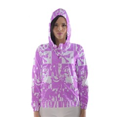 Pink Graffiti Skull Hooded Wind Breaker (women)	 by ArtistRoseanneJones