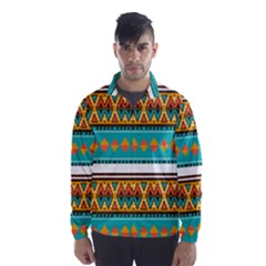 Tribal Design In Retro Colors Wind Breaker (men) by LalyLauraFLM