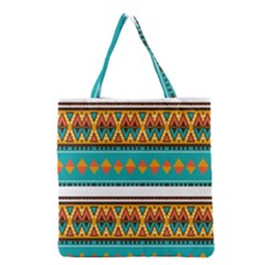 Tribal Design In Retro Colors Grocery Tote Bag