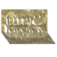 Crumpled Foil Golden Happy Birthday 3d Greeting Card (8x4)