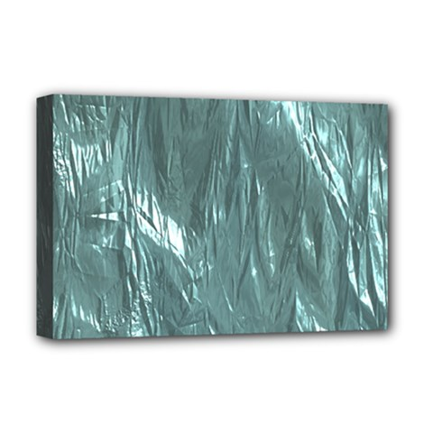 Crumpled Foil Teal Deluxe Canvas 18  X 12   by MoreColorsinLife