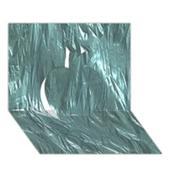 Crumpled Foil Teal Apple 3d Greeting Card (7x5)  by MoreColorsinLife