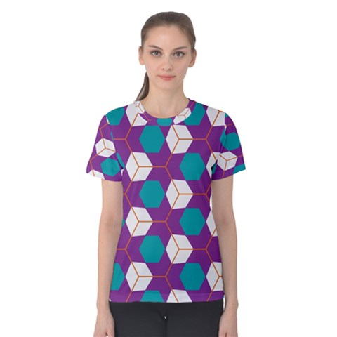 Cubes In Honeycomb Pattern Women s Cotton Tee by LalyLauraFLM