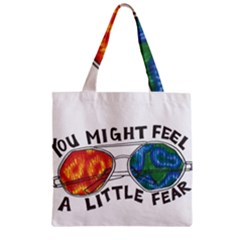 Little Fear Zipper Grocery Tote Bags by northerngardens
