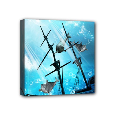 Awesome Ship Wreck With Dolphin And Light Effects Mini Canvas 4  X 4  by FantasyWorld7