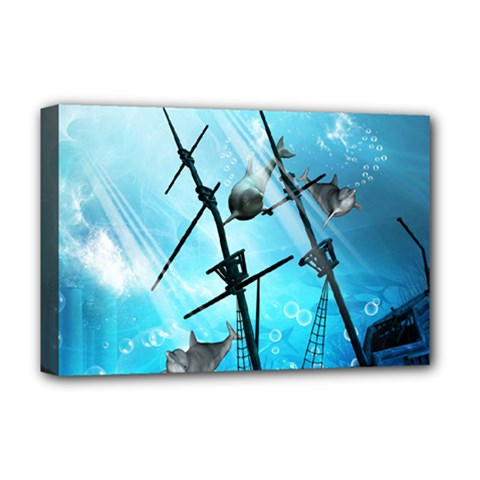Awesome Ship Wreck With Dolphin And Light Effects Deluxe Canvas 18  X 12   by FantasyWorld7