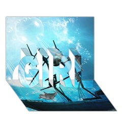 Awesome Ship Wreck With Dolphin And Light Effects Girl 3d Greeting Card (7x5)  by FantasyWorld7
