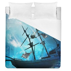 Awesome Ship Wreck With Dolphin And Light Effects Duvet Cover Single Side (full/queen Size)