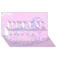 Unique Marbled 2 Baby Pink Merry Xmas 3d Greeting Card (8x4)  by MoreColorsinLife
