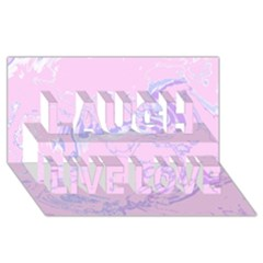 Unique Marbled 2 Baby Pink Laugh Live Love 3d Greeting Card (8x4)  by MoreColorsinLife