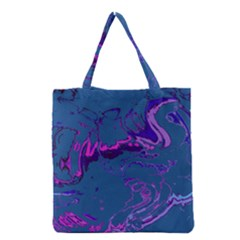 Unique Marbled 2 Blue Grocery Tote Bags by MoreColorsinLife