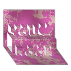 Unique Marbled Pink You Rock 3d Greeting Card (7x5)  by MoreColorsinLife