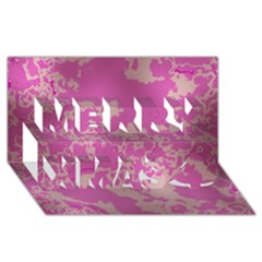 Unique Marbled Pink Merry Xmas 3d Greeting Card (8x4)  by MoreColorsinLife