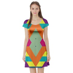 Colorful Rhombus And Stripes Short Sleeve Skater Dress by LalyLauraFLM