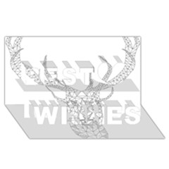Modern Geometric Christmas Deer Illustration Best Wish 3d Greeting Card (8x4)  by Dushan