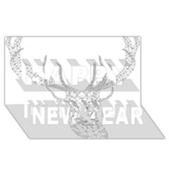 Modern Geometric Christmas Deer Illustration Happy New Year 3d Greeting Card (8x4)  by Dushan