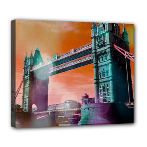 London Tower Bridge, Bokeh Orange Deluxe Canvas 24  X 20   by MoreColorsinLife