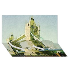 Watercolors, London Tower Bridge Twin Heart Bottom 3d Greeting Card (8x4)  by MoreColorsinLife