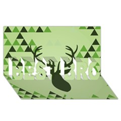 Modern Geometric Black And Green Christmas Deer Best Bro 3d Greeting Card (8x4)  by Dushan